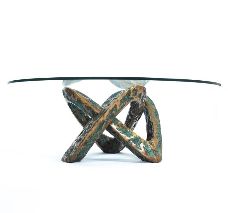 Sculptural Brutalist Mobius Bronze Table, circa 1955 3