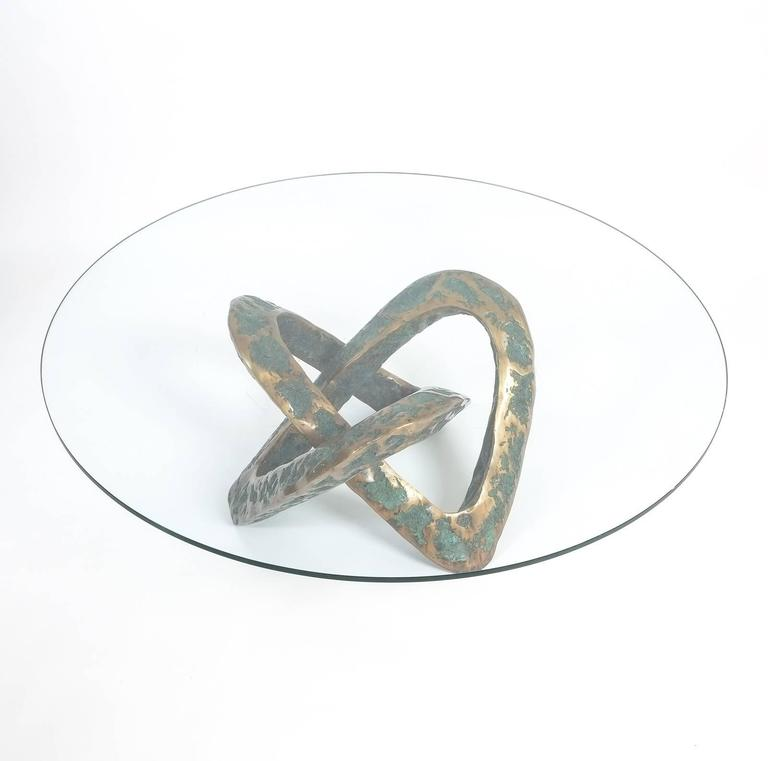 Sculptural Brutalist Mobius Bronze Table, circa 1955 6