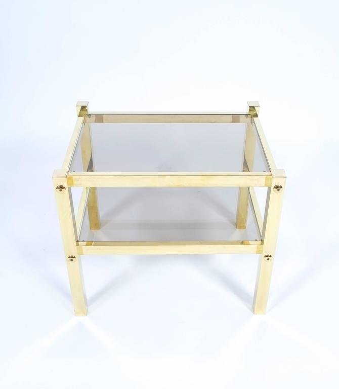 Hollywood Regency Pair of Brass End Tables, circa 1960 For Sale