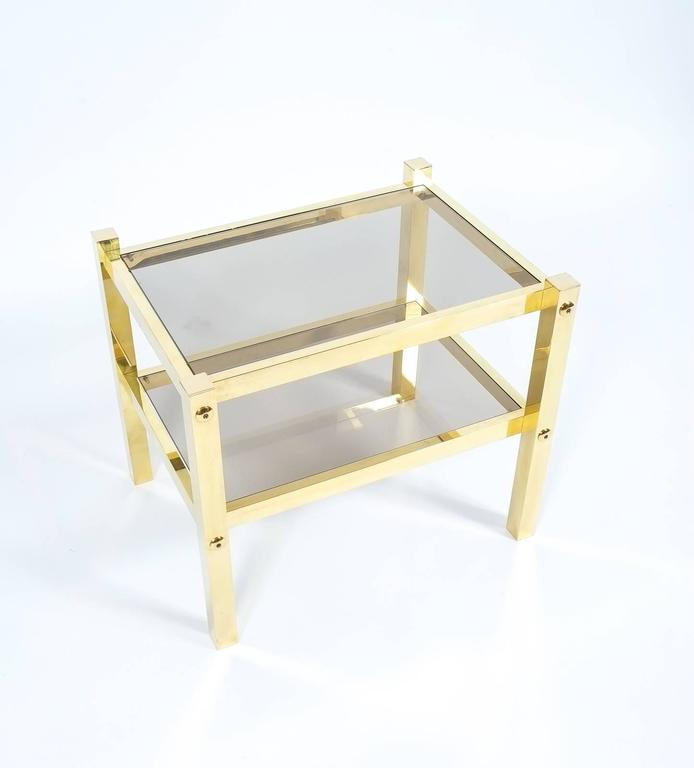 French Pair of Brass End Tables, circa 1960 For Sale