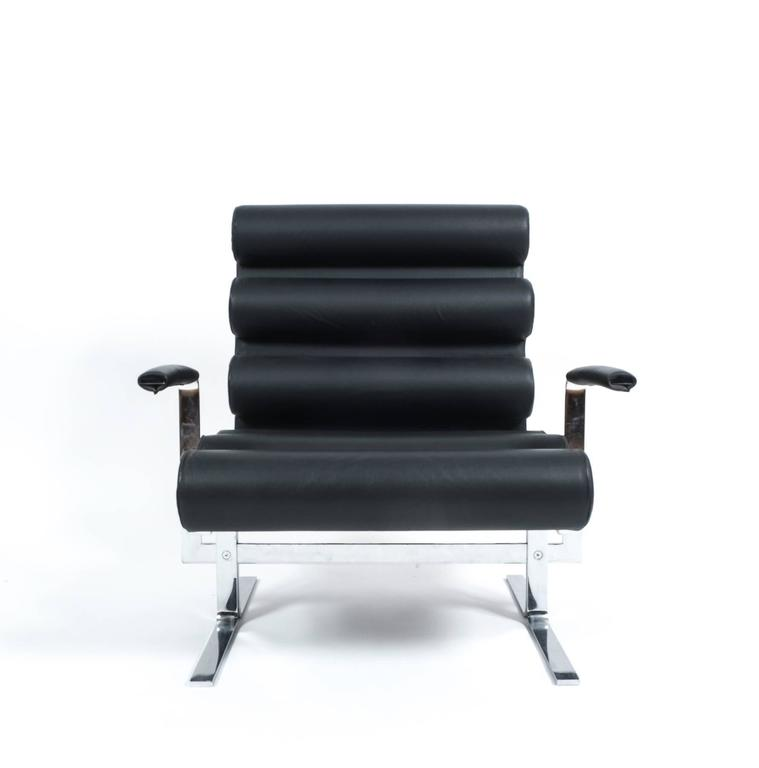 Joe Colombo Roll Black Leather And Stainless Steel Armchair With Footstool,  1962