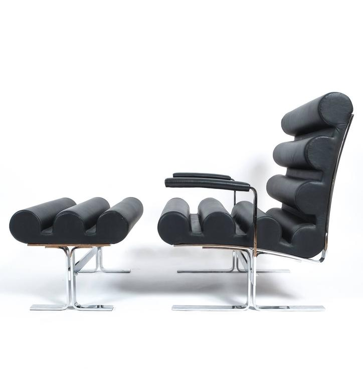Joe Colombo Roll Black Leather And Stainless Steel Armchair With