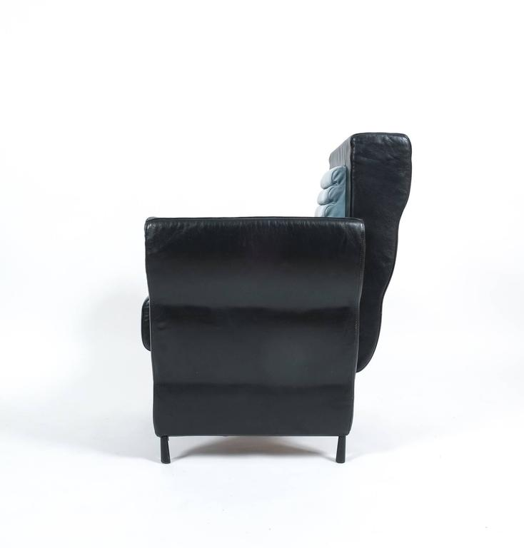 Post-Modern Leather Armchair by Ugo La Pietra, 1985 For Sale
