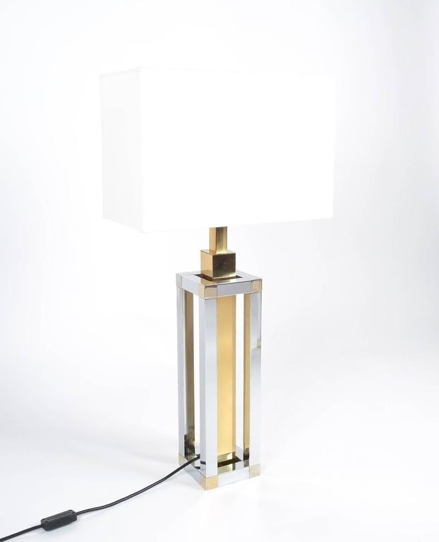 Hollywood Regency Pair of Chrome and Brass Table Lamps by Romeo Rega For Sale