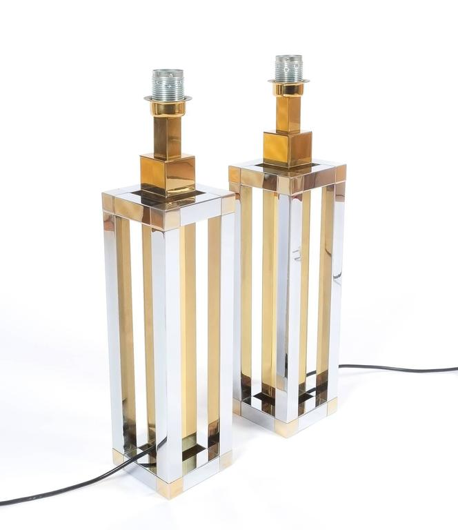 German Pair of Chrome and Brass Table Lamps by Romeo Rega For Sale