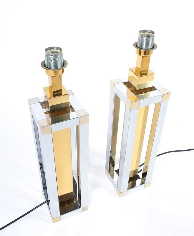 Polished Pair of Chrome and Brass Table Lamps by Romeo Rega For Sale