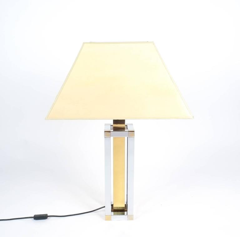 Late 20th Century Pair of Chrome and Brass Table Lamps by Romeo Rega For Sale