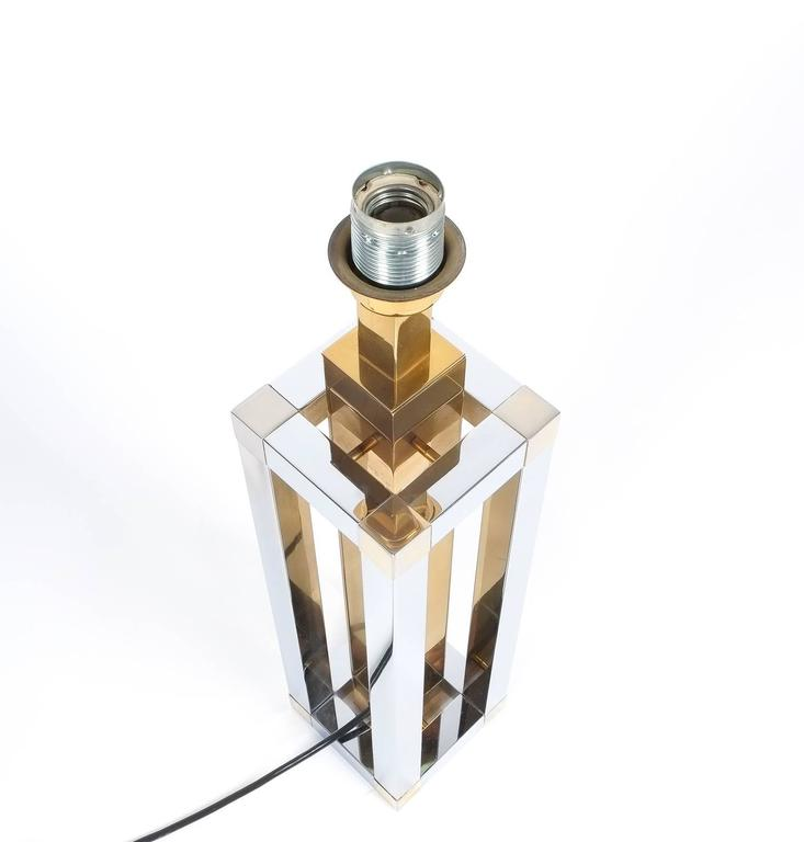 Pair of Chrome and Brass Table Lamps by Romeo Rega For Sale 1