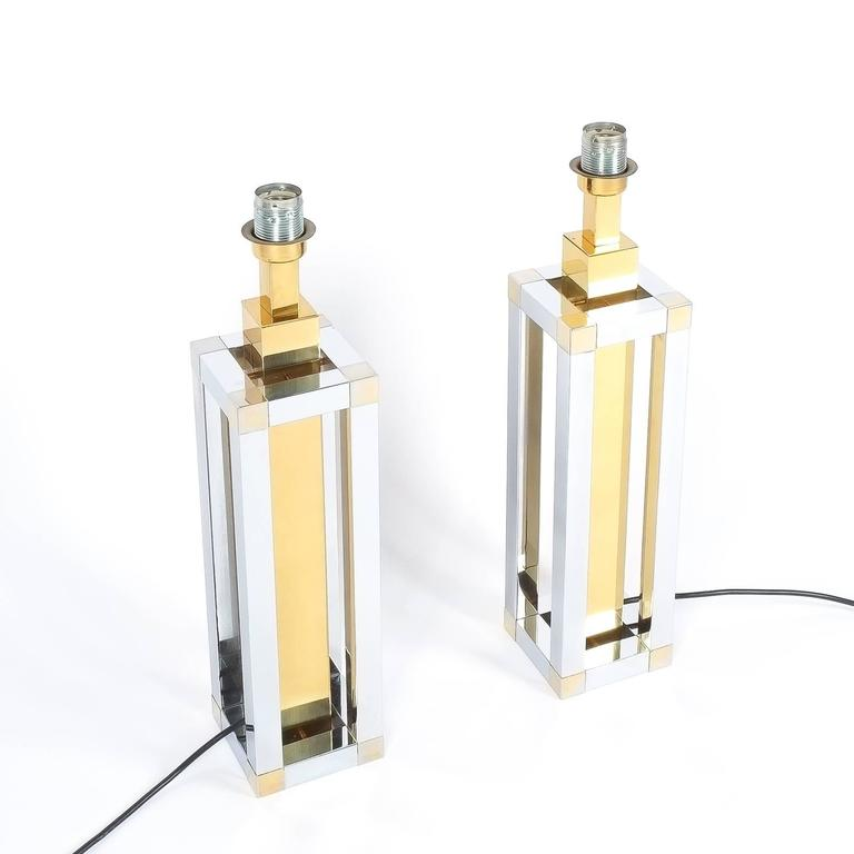 Pair of Chrome and Brass Table Lamps by Romeo Rega For Sale 2