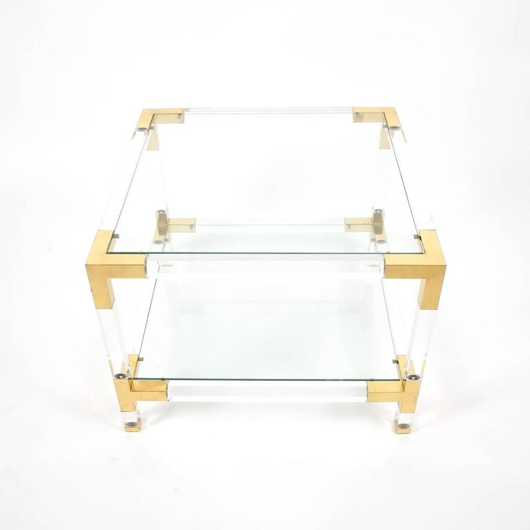Maison Jansen Lucite And Brass Coffee Or Cocktail Table At 1stdibs
