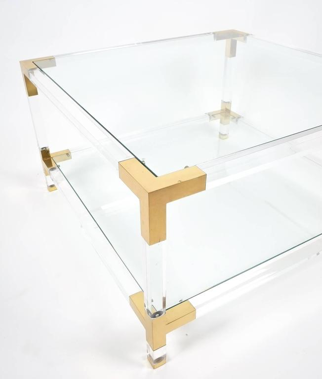 Large Maison Jansen Lucite And Brass Coffee Or Cocktail
