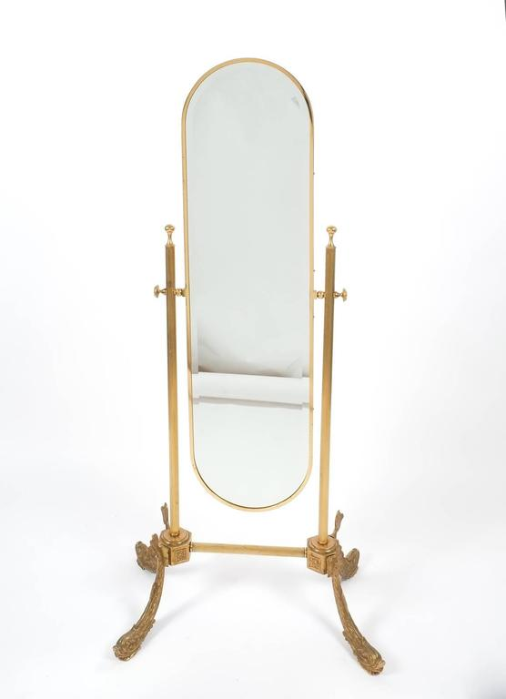 Floor Standing Mirror Made From Brass France 1970 At 1stdibs