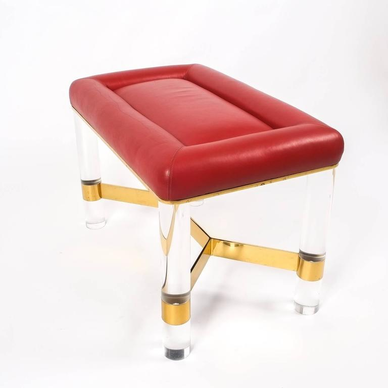 Karl Springer Bench In Leather Brass And Lucite Usa