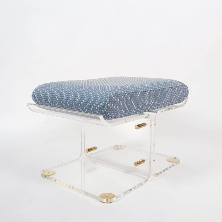 Pair Of Butterfly Lucite And Brass Stools Style Of