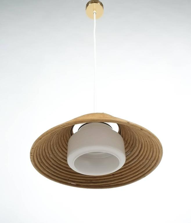Rattan Opal Glass Pendant Lamp By Doria 1960 For Sale At