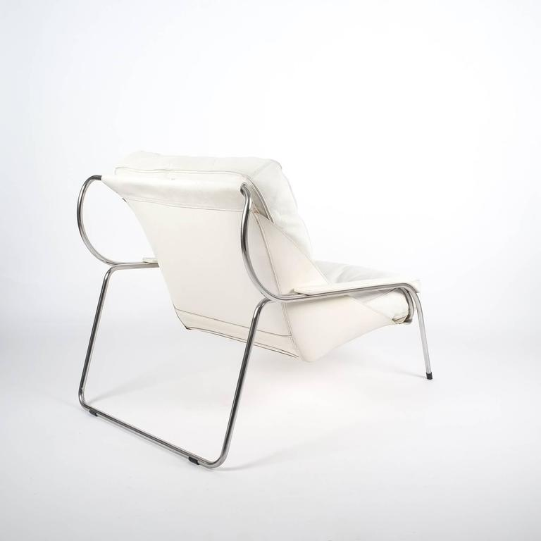 Mid-Century Modern Marco Zanuso Maggiolina White Leather Chair by Zanotta, 1947 For Sale