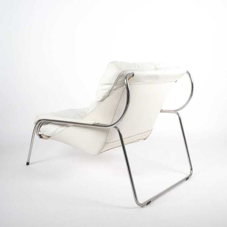 Polished Marco Zanuso Maggiolina White Leather Chair by Zanotta, 1947 For Sale