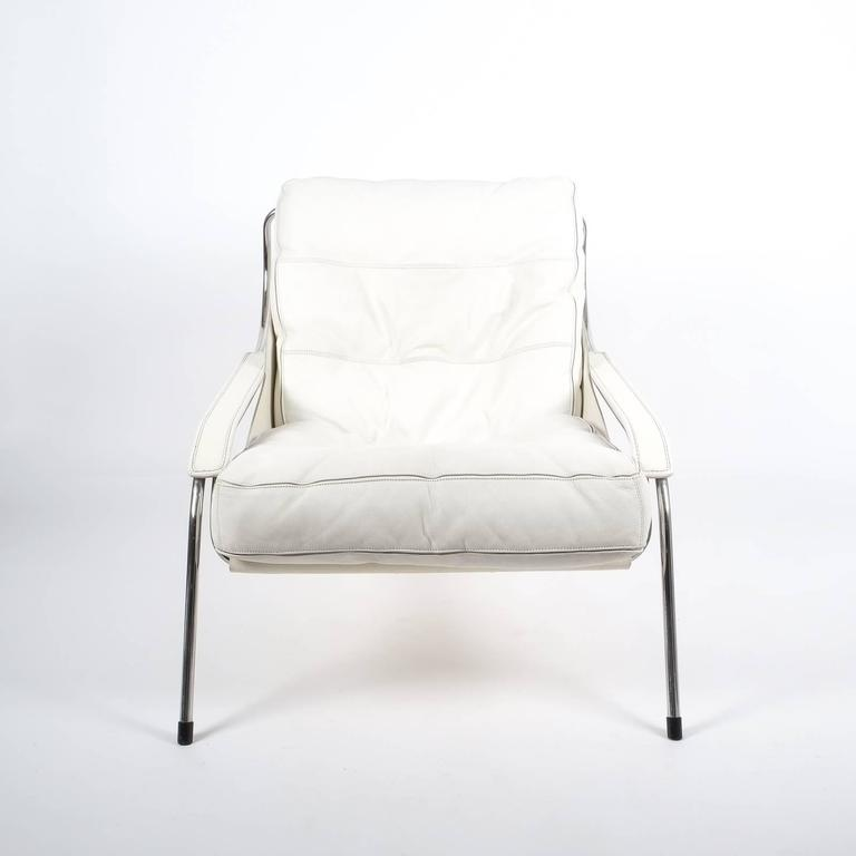 Italian Marco Zanuso Maggiolina White Leather Chair by Zanotta, 1947 For Sale