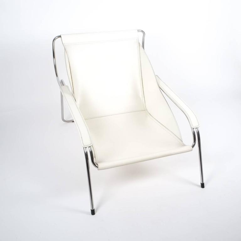 Mid-20th Century Marco Zanuso Maggiolina White Leather Chair by Zanotta, 1947 For Sale
