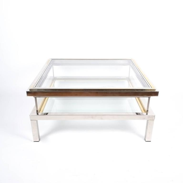 Refurbished Maison Jansen Brass and Chrome Coffee Table with Interior Display 5