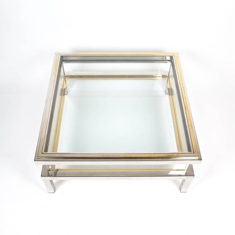 Brass Display Coffee Table: Refurbished Maison Jansen Brass And Chrome Coffee Table