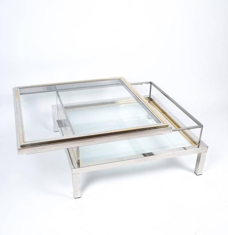 Refurbished Maison Jansen Brass and Chrome Coffee Table with Interior Display 3