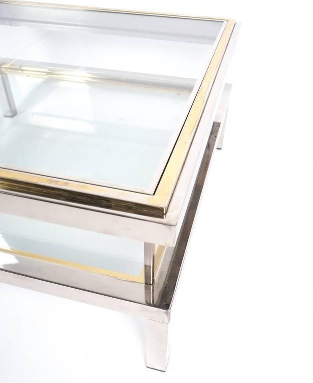 Refurbished Maison Jansen Brass and Chrome Coffee Table with Interior Display 7