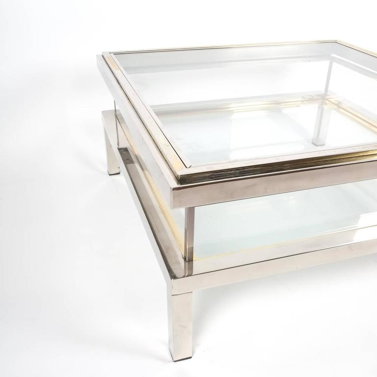 Refurbished Maison Jansen Brass And Chrome Coffee Table With Interior Display For Sale At 1stdibs