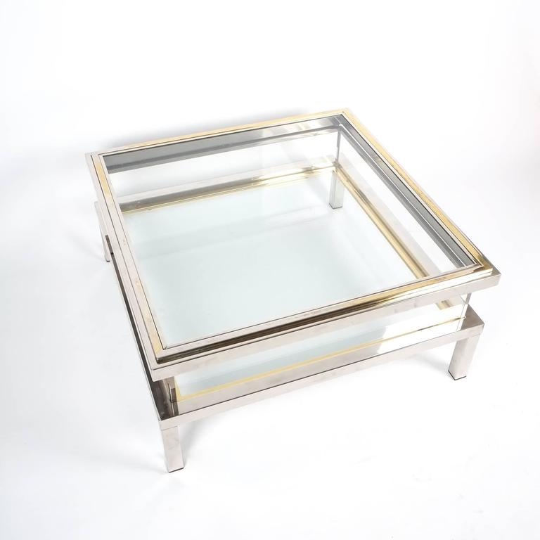 Refurbished Maison Jansen Brass and Chrome Coffee Table with Interior Display 8