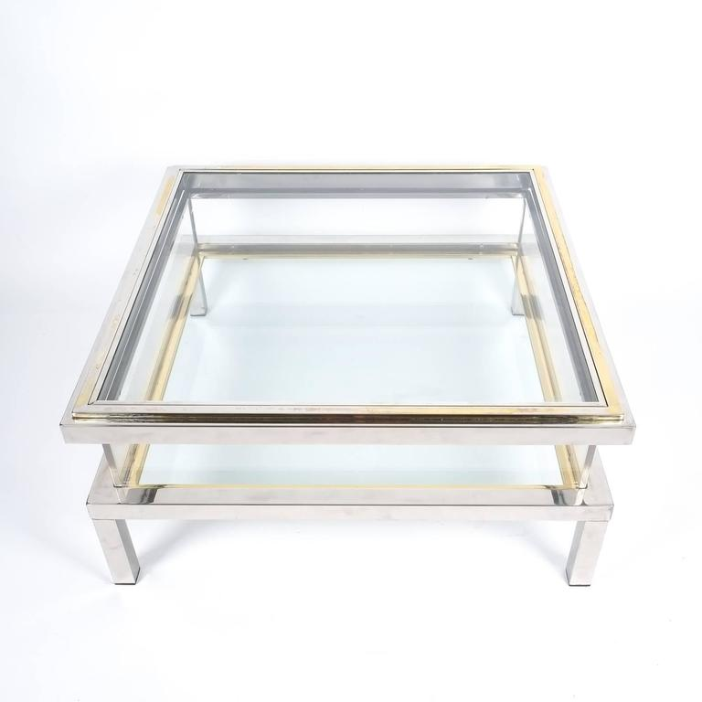 Refurbished Maison Jansen Brass and Chrome Coffee Table with Interior Display 2