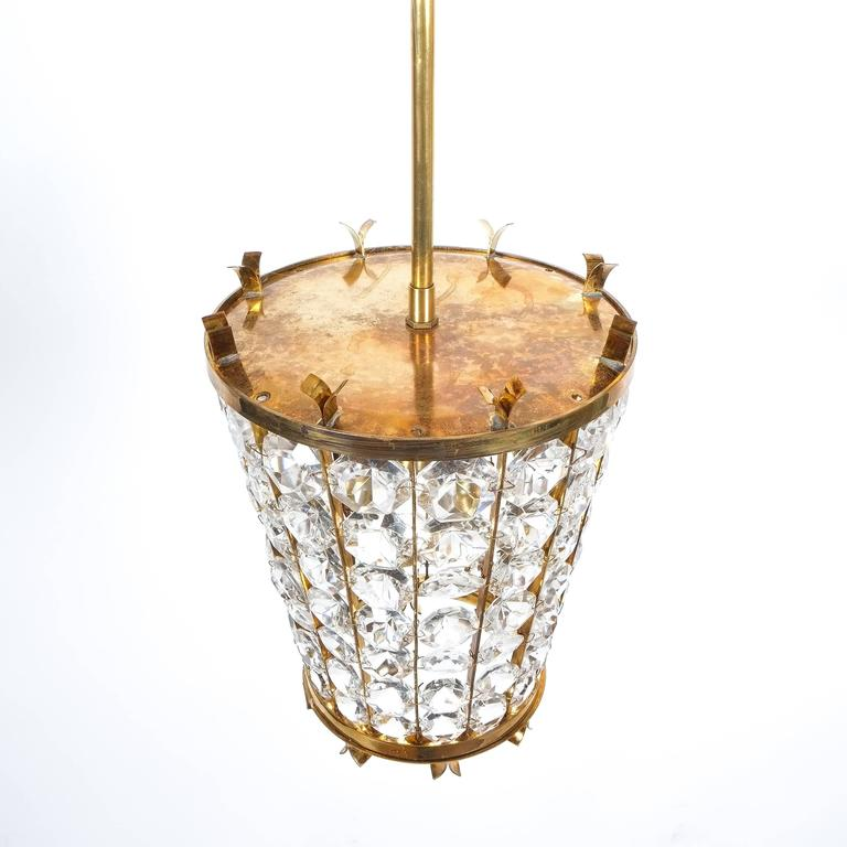 Hollywood Regency Bakalowits Sohne Lantern Pendant Lamp from Brass Crystal Glass, 1950 For Sale