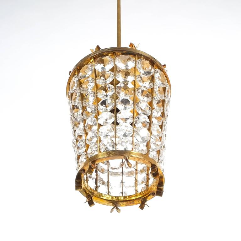 Austrian Bakalowits Sohne Lantern Pendant Lamp from Brass Crystal Glass, 1950 For Sale
