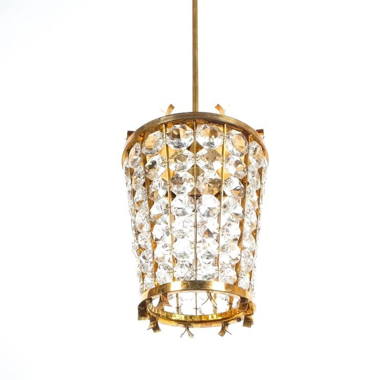 Bakalowits Sohne Lantern Pendant Lamp from Brass Crystal Glass, 1950 In Good Condition For Sale In Vienna, AT