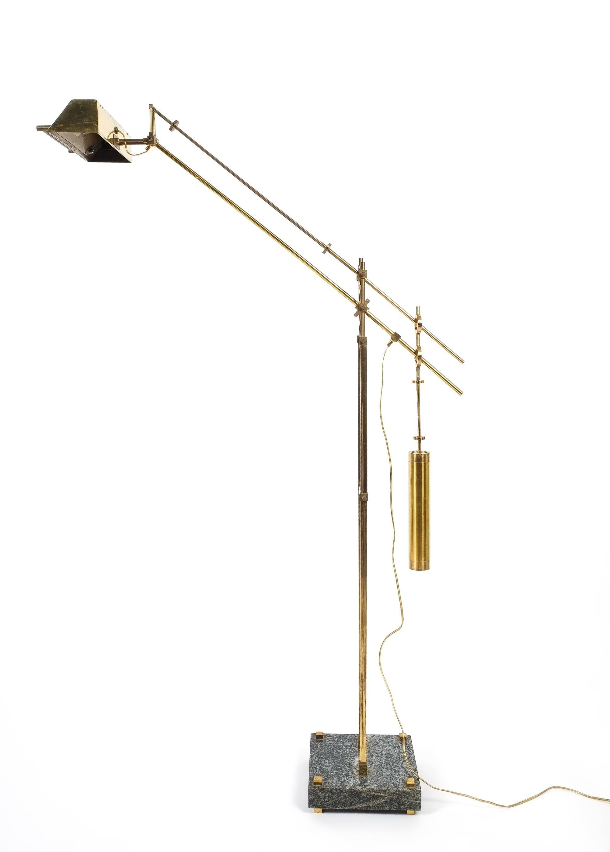 Nautical Brass Counterweight Floor Lamp, 1950 For Sale At 1stdibs