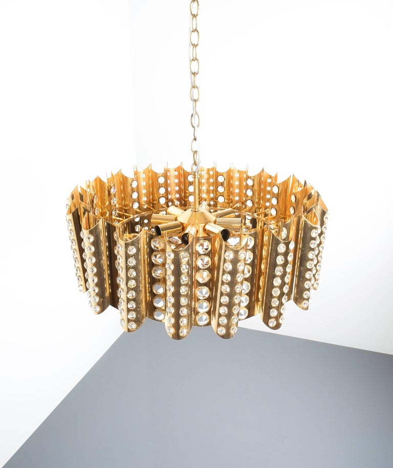Mid-Century Modern Large Gold-Plated Brass Glass Chandelier Lamp Attributed to Gaetano Sciolari For Sale