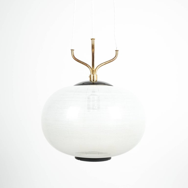 Satin Glass and Brass Suspension Pendant Lamp by Stilnovo, Italy, 1950 For Sale 2
