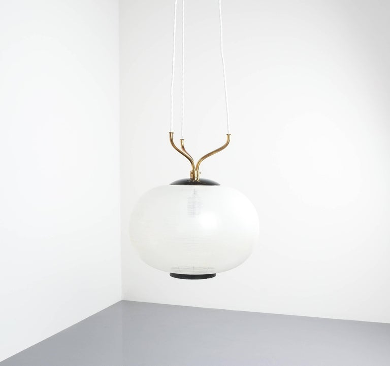 Italian Satin Glass and Brass Suspension Pendant Lamp by Stilnovo, Italy, 1950 For Sale