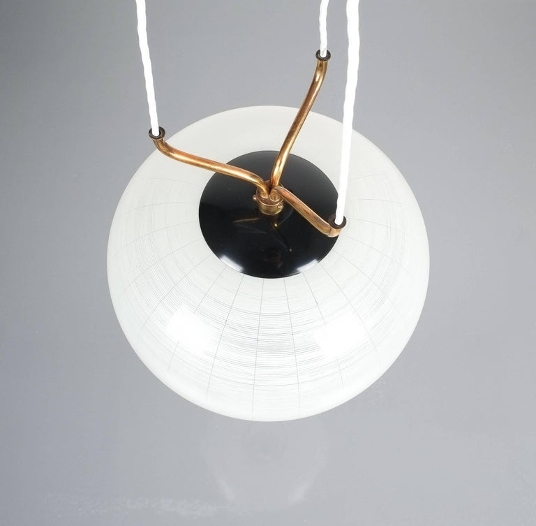 Mid-20th Century Satin Glass and Brass Suspension Pendant Lamp by Stilnovo, Italy, 1950 For Sale