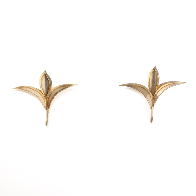 Mid-20th Century Artisan Brass Pair of Lily Wall Lamps in Tommaso Barbi Style, Carlo Giorgi, 1950 For Sale