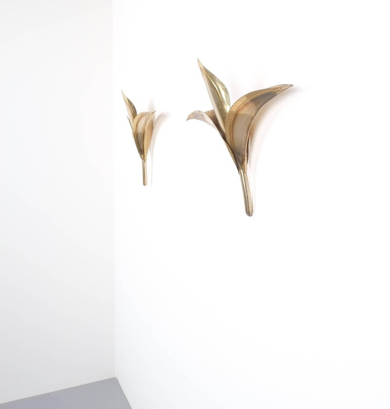 Artisan Brass Pair of Lily Wall Lamps in Tommaso Barbi Style, Carlo Giorgi, 1950 For Sale 3