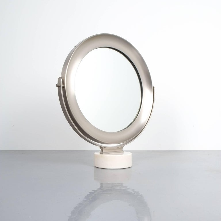 Mid-Century Modern Sergio Mazza Large Swivel Marble Table Mirror, Italy, 1960 For Sale
