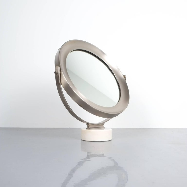 Sergio Mazza swivel marble table mirror, Italy, 1960, modern swivel table mirror with white marble base and brushed nickelled brass metal frame, excellent condition. Mirror only measures 13