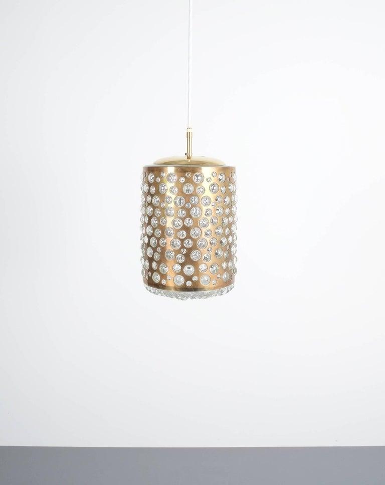 Pair of Limburg Brass Glass Bronze Pendant Lamps, Germany, 1960 9
