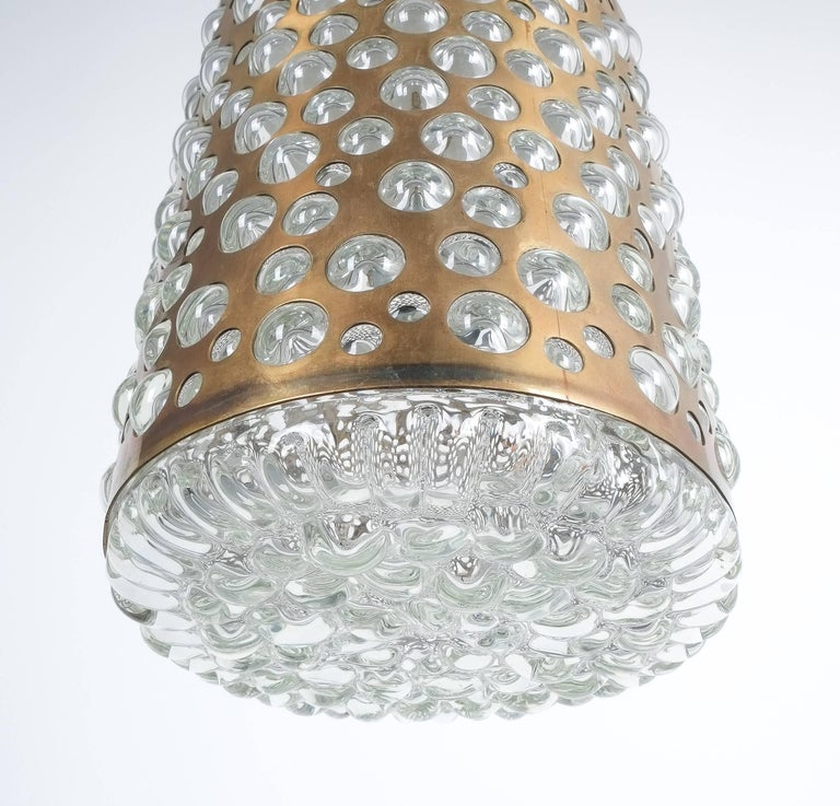Pair of Limburg Brass Glass Bronze Pendant Lamps, Germany, 1960 5