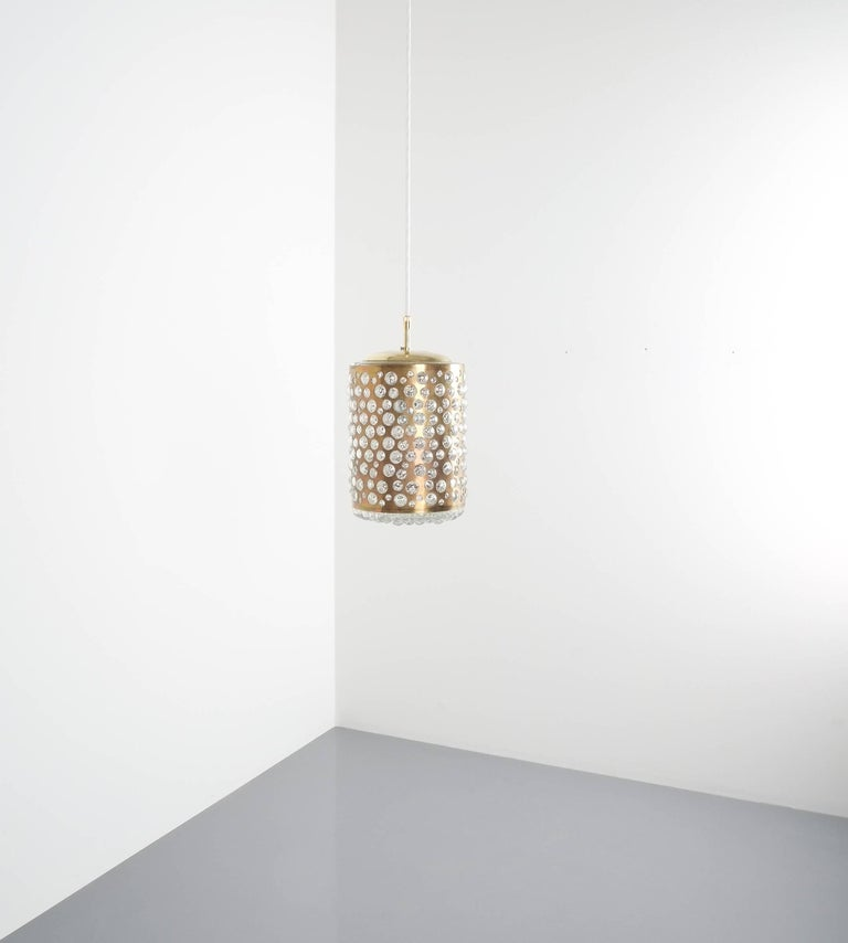 Pair of Limburg Brass Glass Bronze Pendant Lamps, Germany, 1960 2