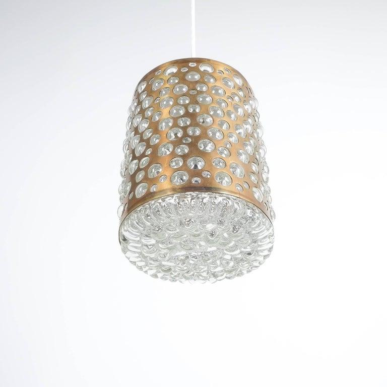 Pair of Limburg Brass Glass Bronze Pendant Lamps, Germany, 1960 4
