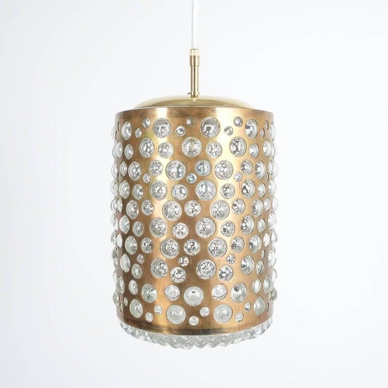 Pair of Limburg Brass Glass Bronze Pendant Lamps, Germany, 1960 7