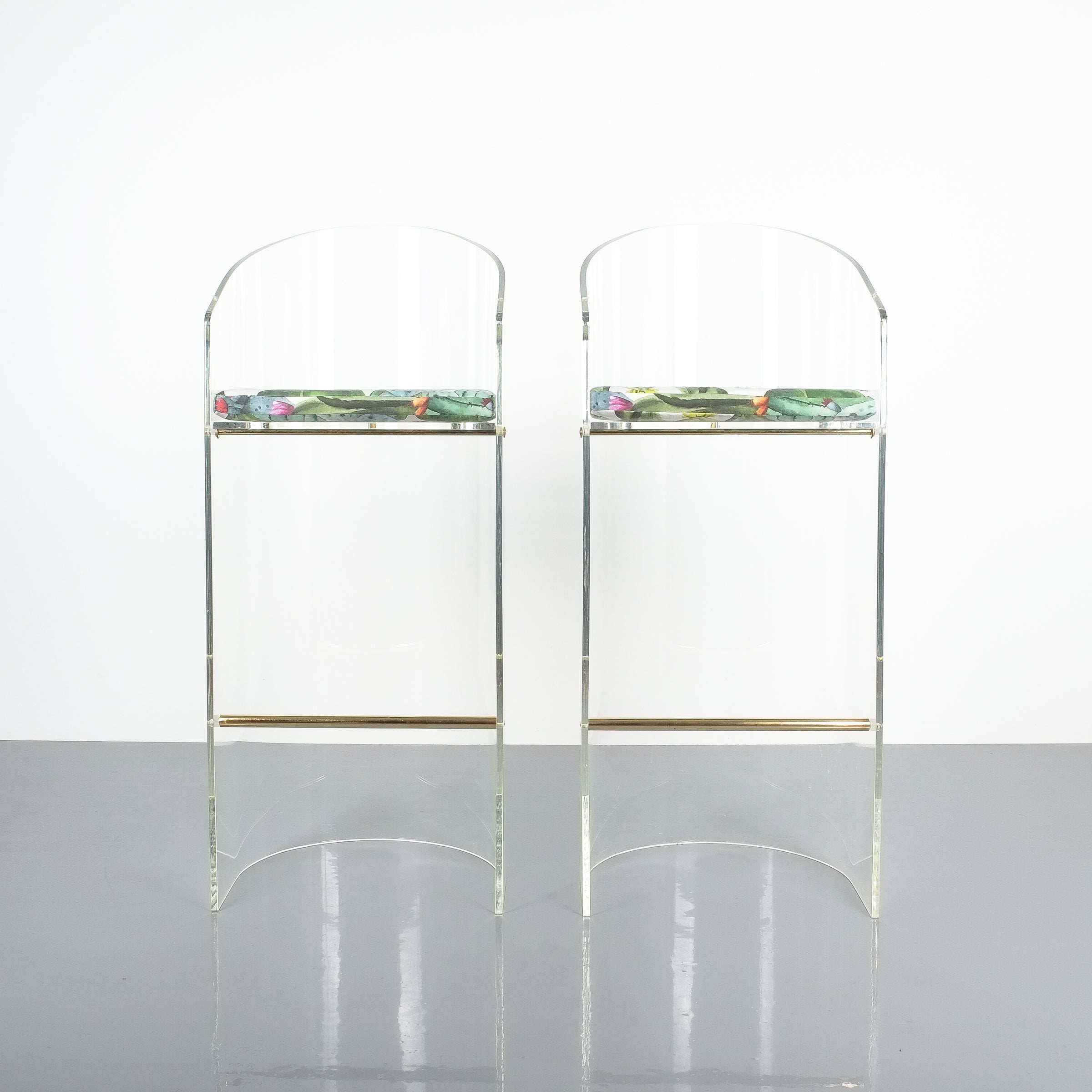 Pair of lucite brass bar stools style charles hollis jones 1960 for sale at 1stdibs