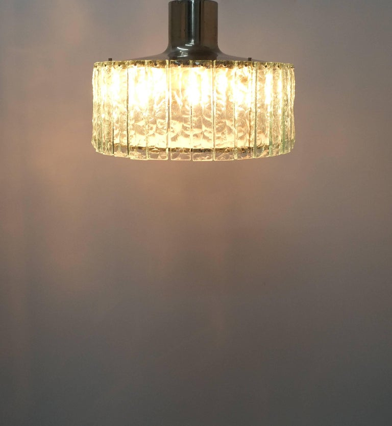 Brass Fontana Arte Model 2448 Glass Nickel Flush Mount Chandelier, Italy, circa 1967 For Sale