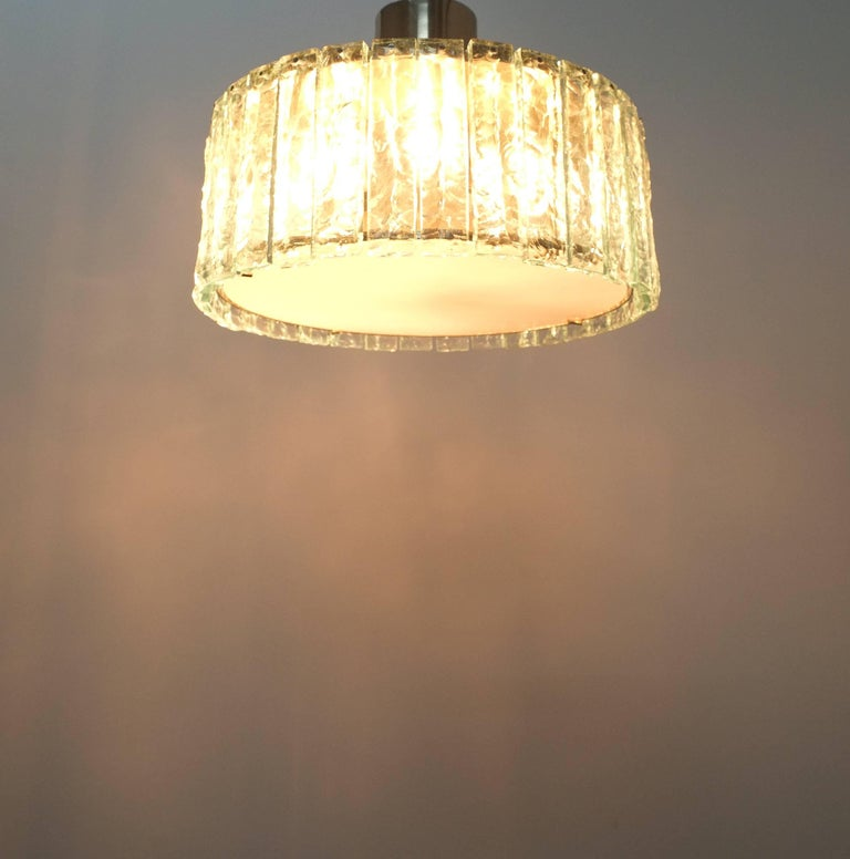 Fontana Arte Model 2448 Glass Nickel Flush Mount Chandelier, Italy, circa 1967 For Sale 1